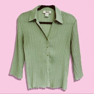 Vintage sheer ribbed  pastel green button up